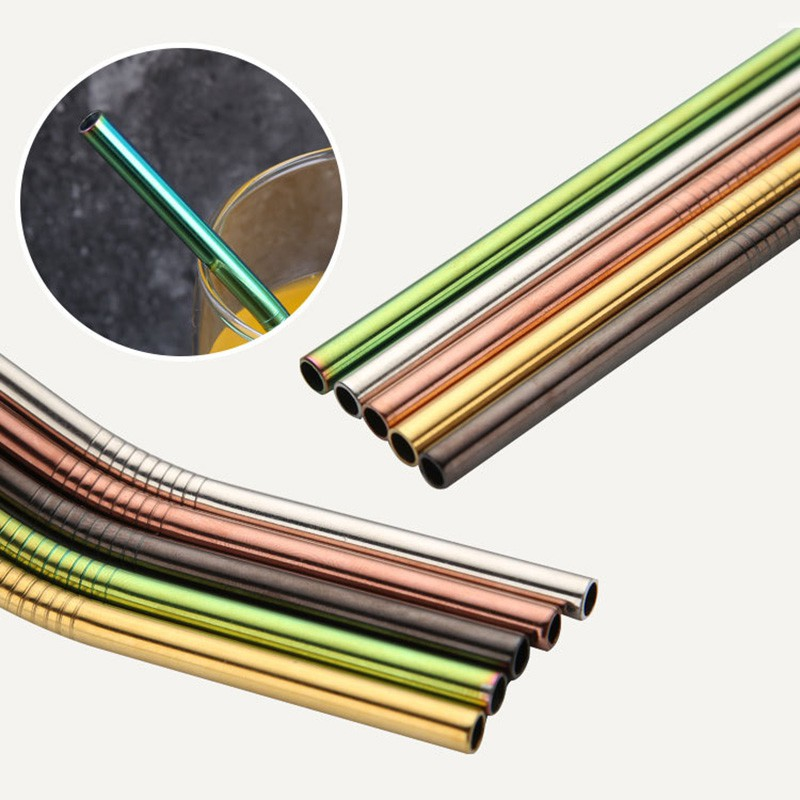 ABH10Pcs不銹鋼吸管多色可重複使用的吸管