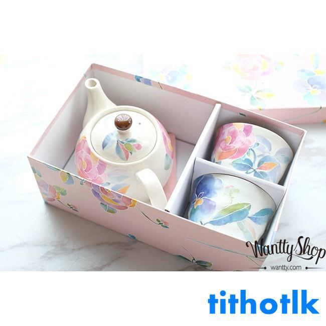日本制美濃燒 水粉玫瑰手繪釉下彩茶具套裝茶壺茶杯對杯子