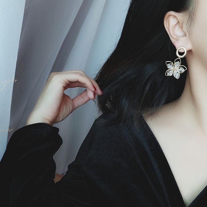 925銀針雙層水晶花朵耳環女2020新款潮韓國長款百搭網紅耳釘耳墜A206
