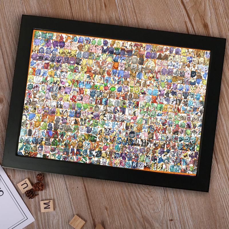 【台灣出貨】客製木質寶可夢拼圖  寵物小精靈 神奇寶貝寶可夢 皮卡丘300片500片1000片1500片 減壓益智拼圖