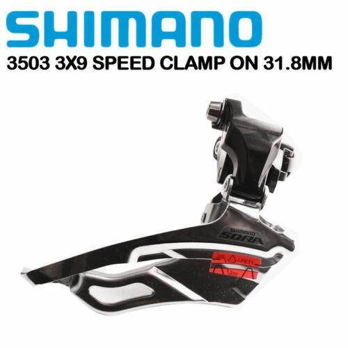 Shimano Sora FD 3503前變速器3x9速公路自行車夾鉗,安裝在31.8mm自行車配件