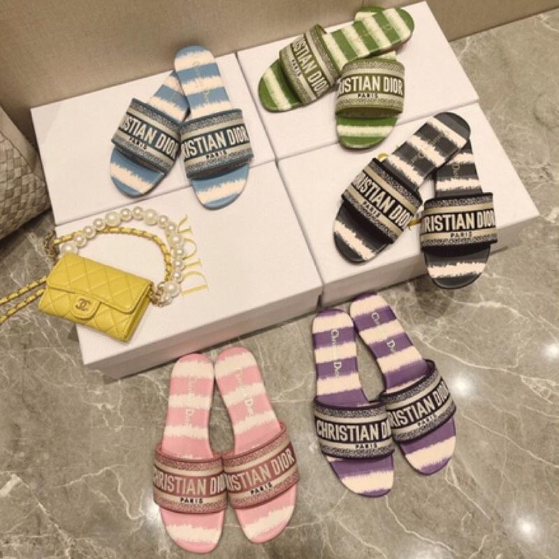2021專櫃新款同步發售✅Dior 刺繡涼鞋 拖鞋 平底鞋 懶人鞋 媽媽鞋