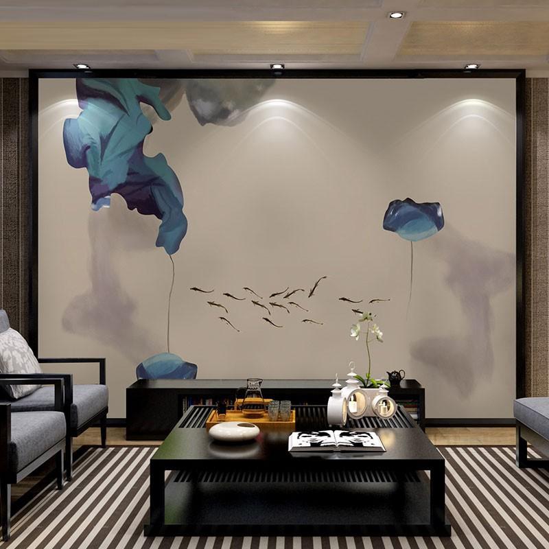 ¥精品下殺¥墻素 現代新中式抽象寫意壁畫影視墻裝飾 客廳電視背景墻布壁紙