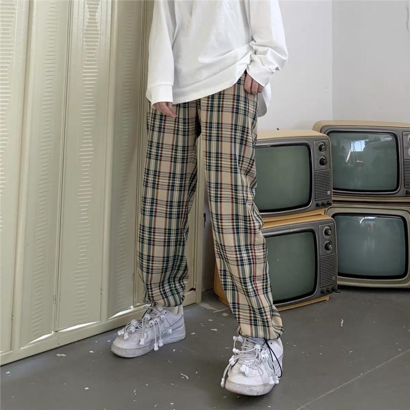 復古格子寬鬆直筒寬褲(鬆緊腰)