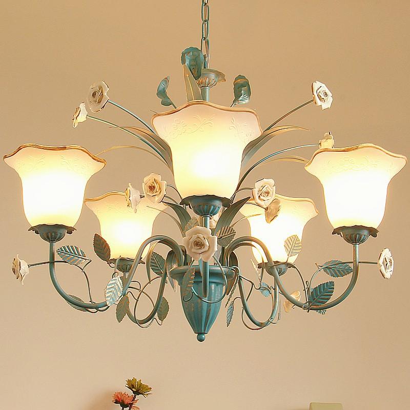 精品熱賣藍色田園地中海風格吊燈創意北歐式美式復古客廳兒童房間臥室吊燈