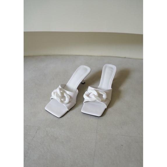 粗鏈條低跟拖鞋涼鞋-白/黃