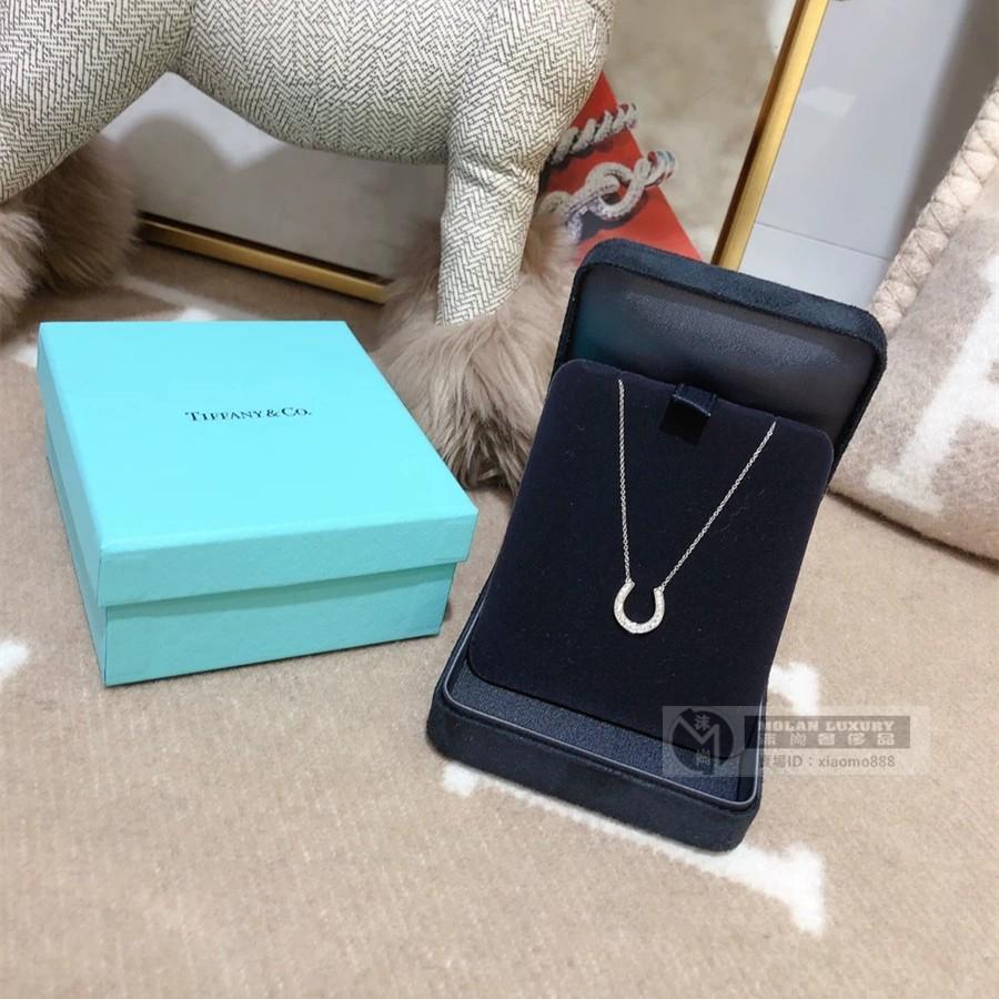流當奢品 Tiffany 蒂芙尼 鉑金U型滿鑽項鏈 鑲鑽馬蹄項鏈 16926914 二手正品