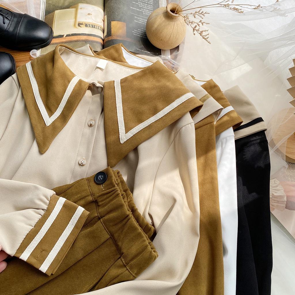 洋氣撞色翻領長袖淨版氣質襯衫女秋季新款韓版寬鬆休閒通勤小衫潮