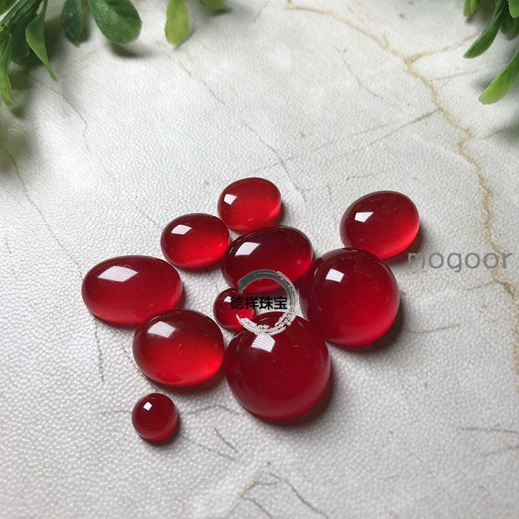 🏫🏂天然瑪瑙殷桃紅玉髓戒面旦面戒指項鏈手鏈裸石鑲嵌手工diy配飾