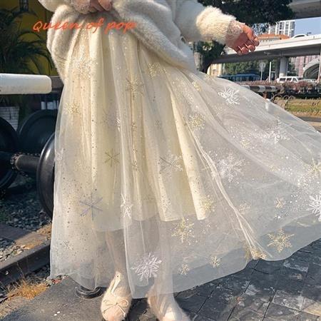 女生長裙 網紗裙 半身裙 蓬蓬裙 仙女裙網紗半身裙中長款秋冬高腰顯瘦雪花印花中長裙打底a字裙仙女紗裙