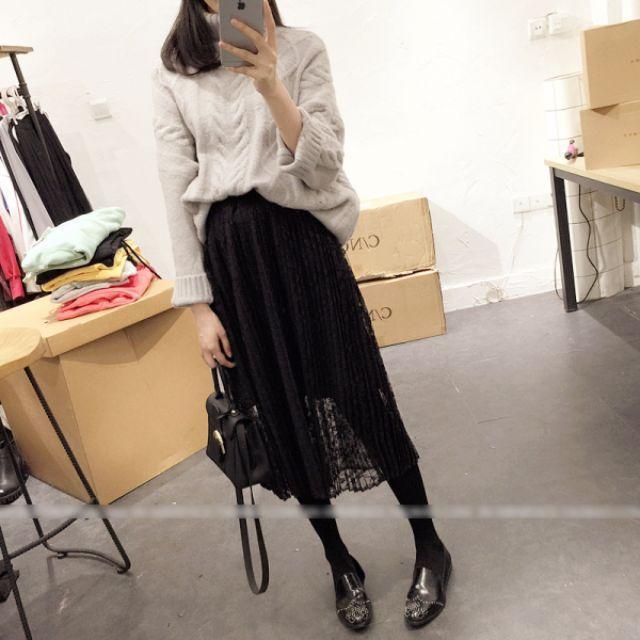 蕾絲網紗縷空百褶裙高腰顯瘦中長裙