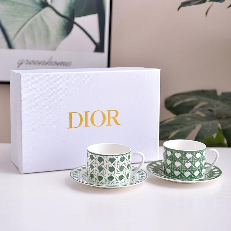 【現貨秒發 關注立減20】Dior網紅骨瓷咖啡杯子家用現代情侶杯輕奢閨蜜禮品咖啡杯碟禮盒裝 下午茶杯 咖啡杯碟