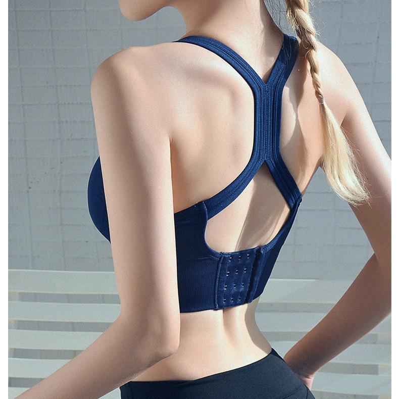 【網紅】性感瑜伽運動背心女 跑步健身防震內衣交叉背心高強度健身文胸寬排扣可拆卸胸墊背心式運動內衣Bra