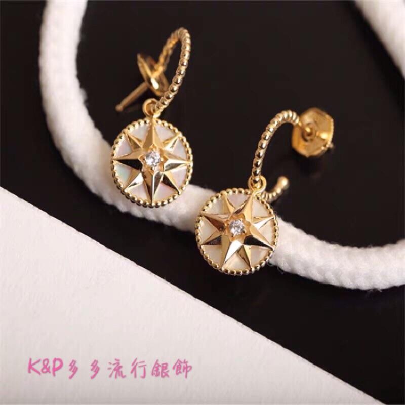 K&P多多香港流行銀飾代購✨S925純銀 網紅明星款 復古 八芒星 羅盤造型 純銀耳環 耳針 現貨+預購‼️