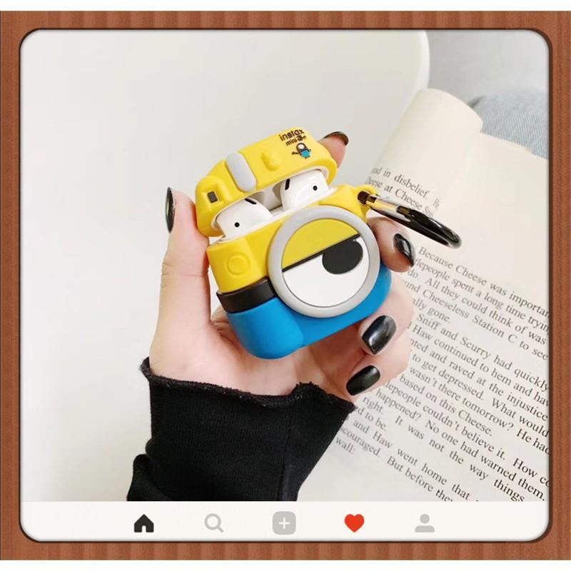 臺灣出貨←小小兵相機 適用於AirPods Pro 1/2代保護套 送扣環3D立體 分離式 蘋果耳機收納盒矽膠套可愛卡通