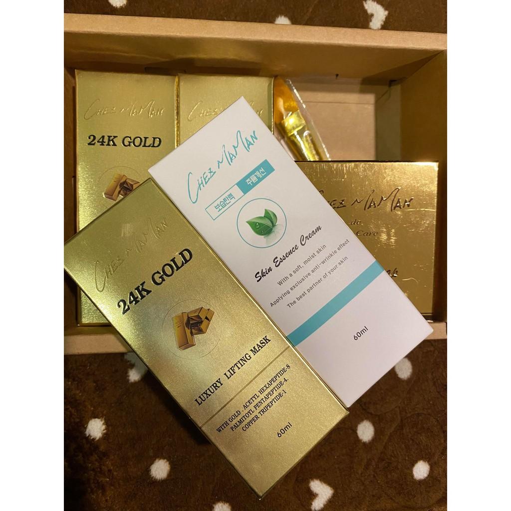 Chez maman林鳳英金箔凍齡美容皂(100gx1)+24K黃金埋絲面膜(60mlx3)+駐顏喚膚霜(60mlx1)