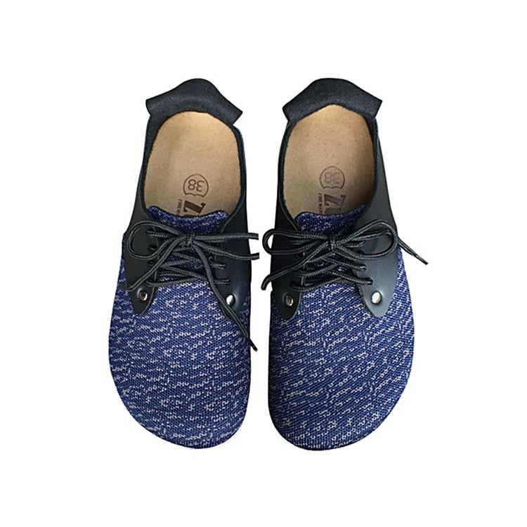 【ZULIBA經典款】女足跡針織布綁帶全包鞋(36~39)-藍織布黑