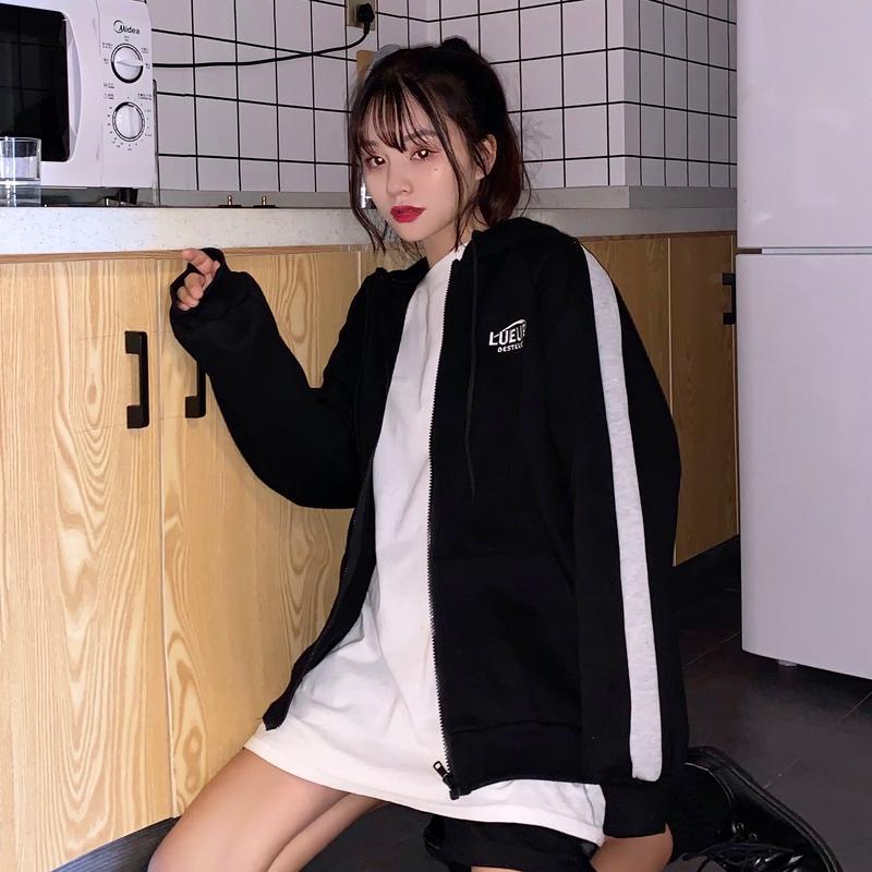 [嬌戀主角]帽t 刷毛加厚 開衫條紋刺繡大學t 棒球服外套 上衣 韓版 寬鬆顯瘦 閨蜜裝 班服 情侶穿搭 女生衣著