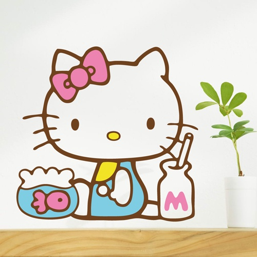 宜hello kitty貓魚缸牆貼紙 家居平面裝飾貼畫防水磁磚玻璃衣櫃貼
