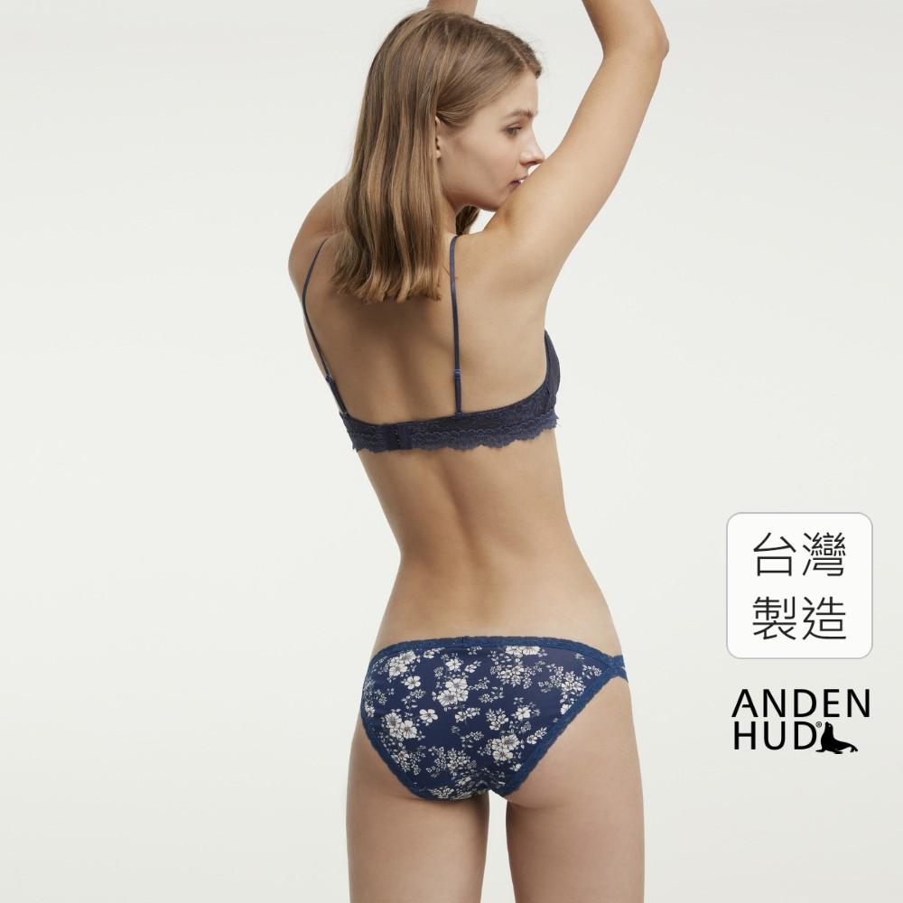 【Anden Hud】鏡中花.雙蕾絲邊高衩低腰三角內褲(深藍-小白花) 台灣製