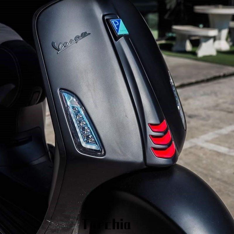 適用VESPA300春天 沖刺 150改裝 gts300喇叭飾蓋領帶飾蓋紅色領帶 o.