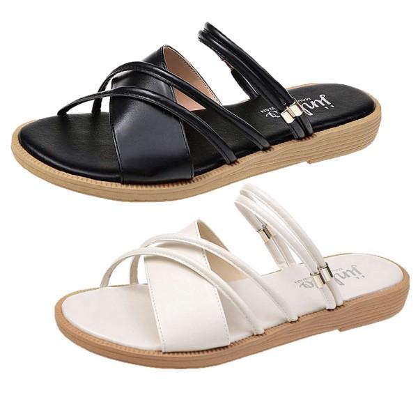 【白鳥麗子】可兩穿 MIT韓版氣質寬細交叉系帶平底涼拖鞋