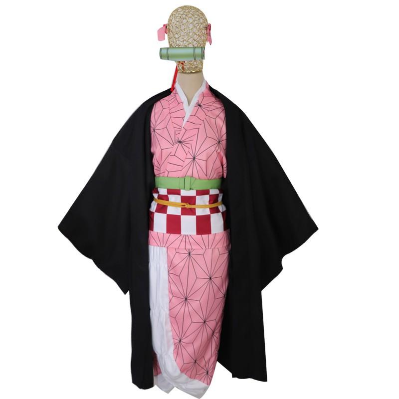 鬼滅之刃灶門彌豆子衣服套裝假髮cosplay服裝現貨