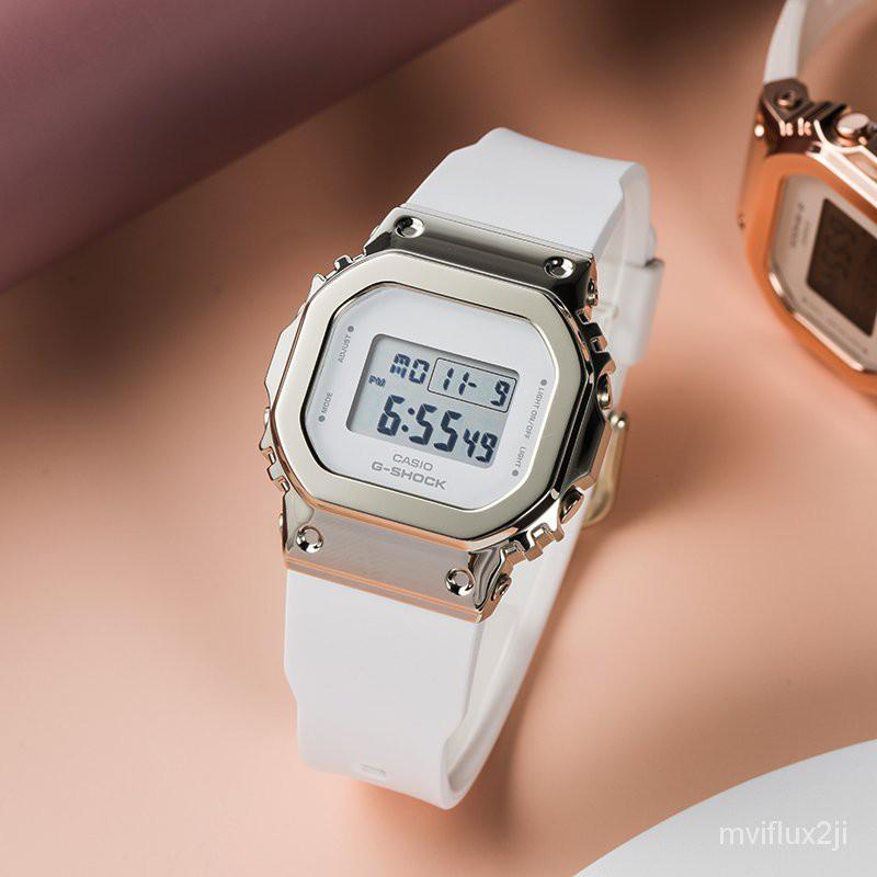 卡西歐手錶女款金屬小方塊玫瑰金櫻花淡粉色運動錶GM-S5600PG-4 9AfI