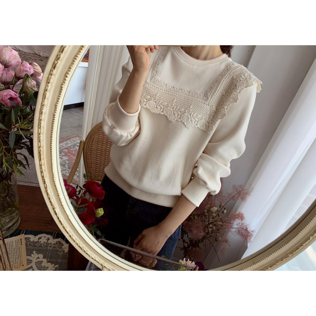 Bellee 正韓 韓國 BEST 玫瑰花蕾絲領內刷毛棉質上衣 (2色)【Z121864】 預購