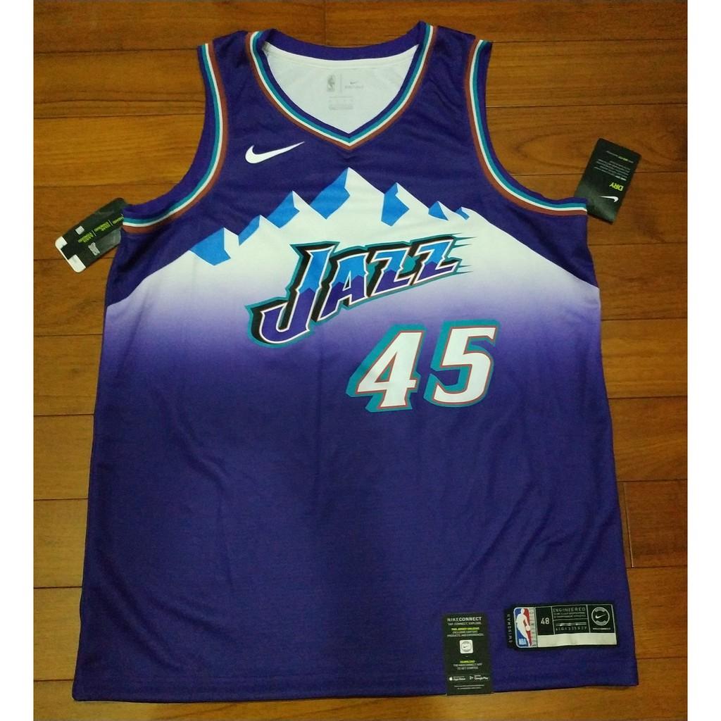 Nike nba球迷版 猶他爵士復古紫冰山45號 MITCHELL