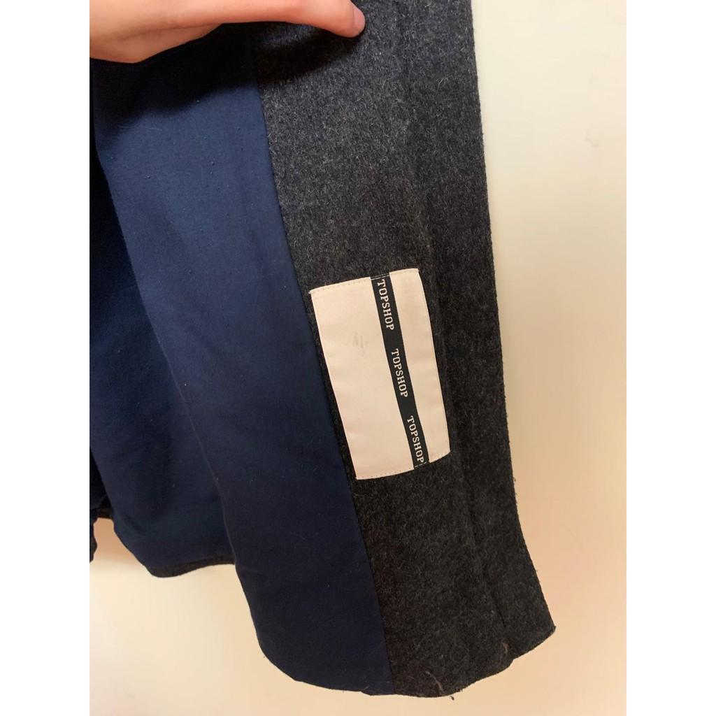英國 Topshop 正貨 羊毛鐵灰色 連帽拉鏈大衣 極保暖 二手已乾洗 保存良好