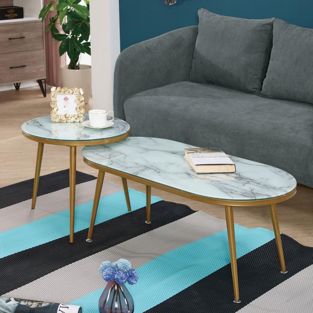 【100cm玻璃組合茶几-A307-3】實木原木玻璃 大理石長方桌 大小邊几 圓桌 【金滿屋】