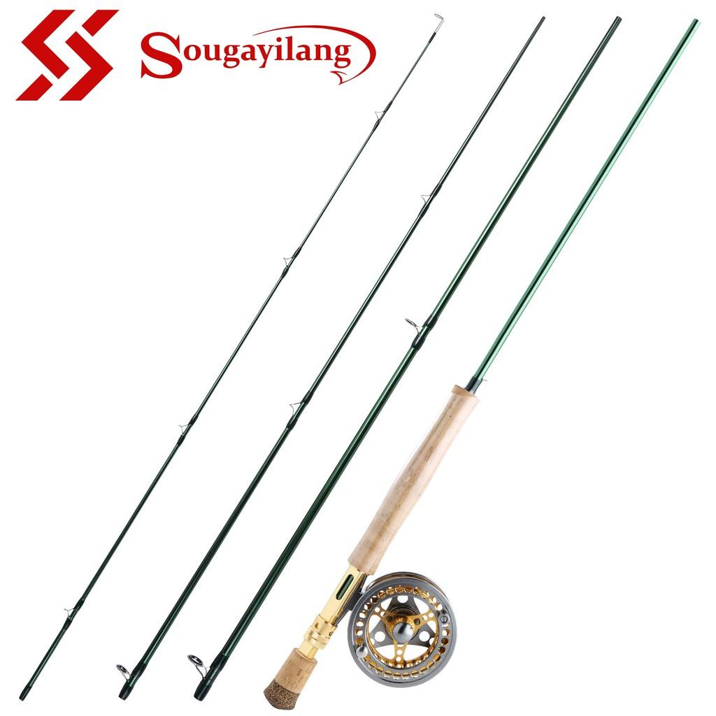 Sougayilang 嗖嘎一郎 木柄綠色飛蠅竿和7/8# 金銀飛蠅輪套裝組合 戶外旅行釣魚 飛蠅釣 飛蠅竿 飛蠅輪釣魚