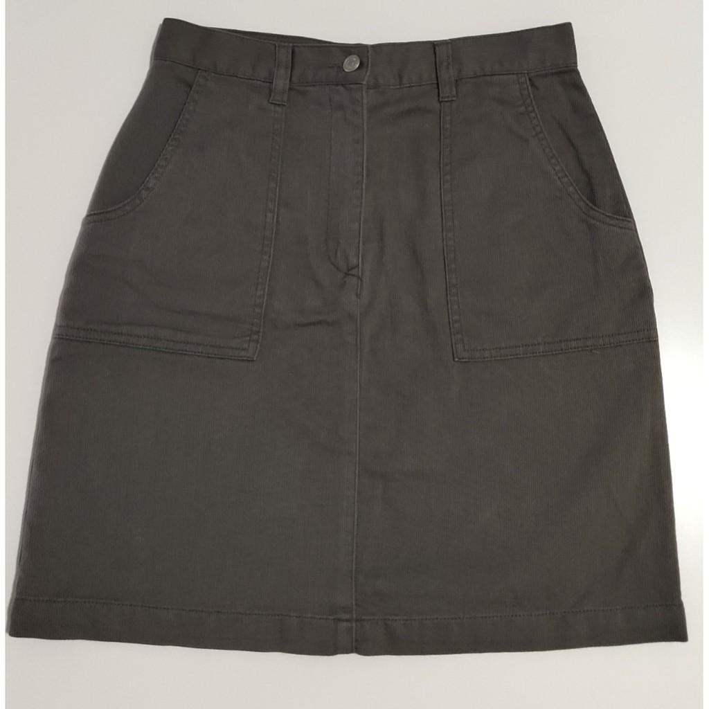 【二手特賣】BIG TRAIN 純棉 女短裙 鐵灰色 A字裙 腰寬33 全長47 cm
