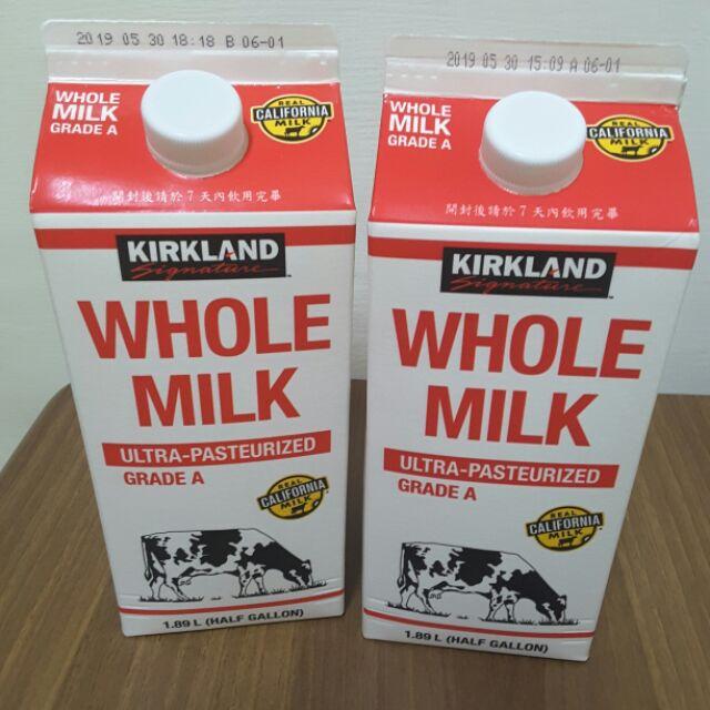 COSTCO 好市多代購Kirkland科克蘭全脂鮮乳/脫脂鮮乳(1.89公升,2瓶)特價258