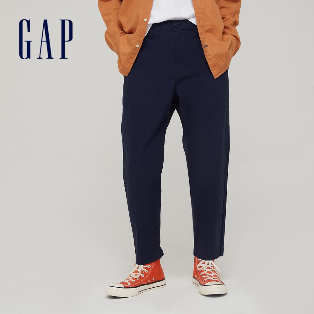 Gap 男裝 商務風中腰直筒型休閒褲 911065-海軍藍