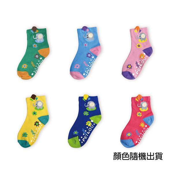 貝柔趣味立體止滑童短襪-皮皮象彩色 15-18cm(1雙)【康是美】