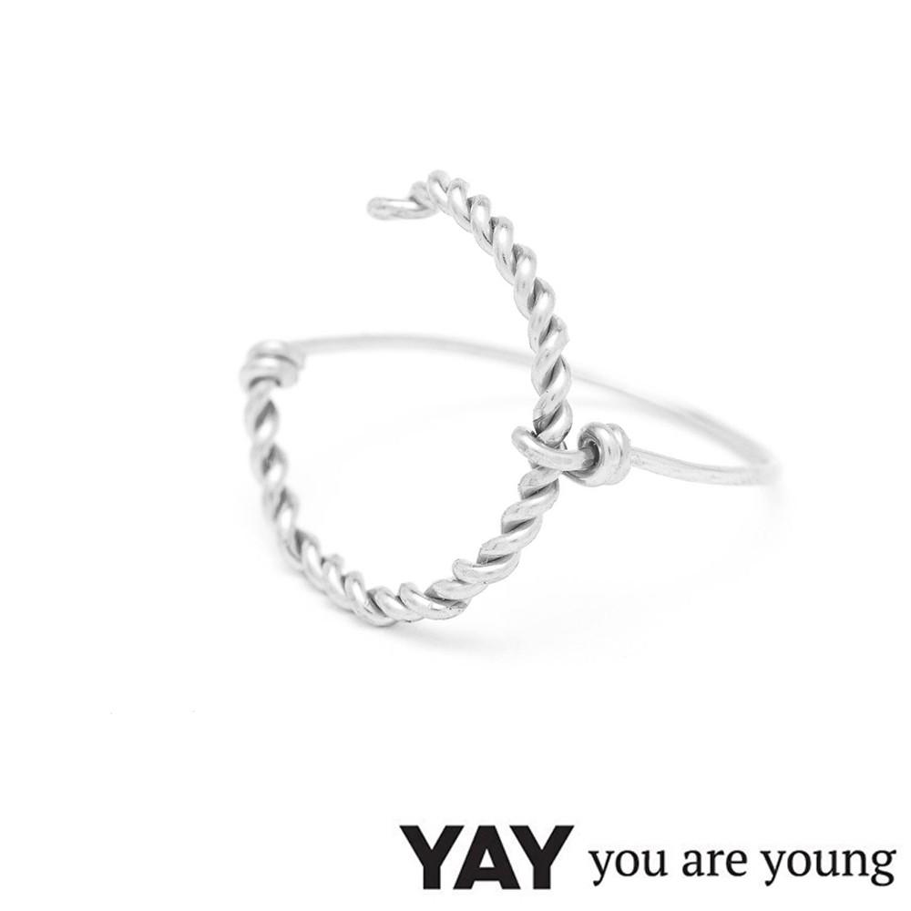 YAY You Are Young 法國品牌 Riviera 簡約編織戒指 大C銀色戒指 蔚藍海岸 L號