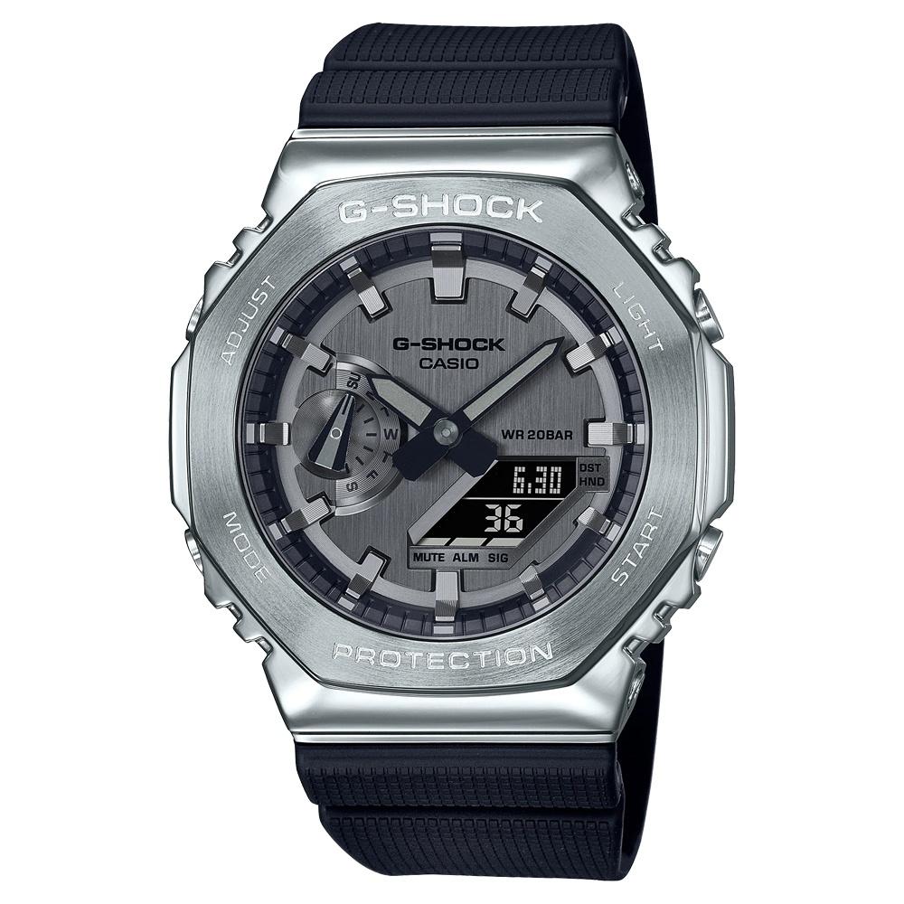 CASIO卡西歐 G-SHOCK 百搭銀黑 金屬錶殼 八角形錶殼 GM-2100-1A_44.4mm  小AP