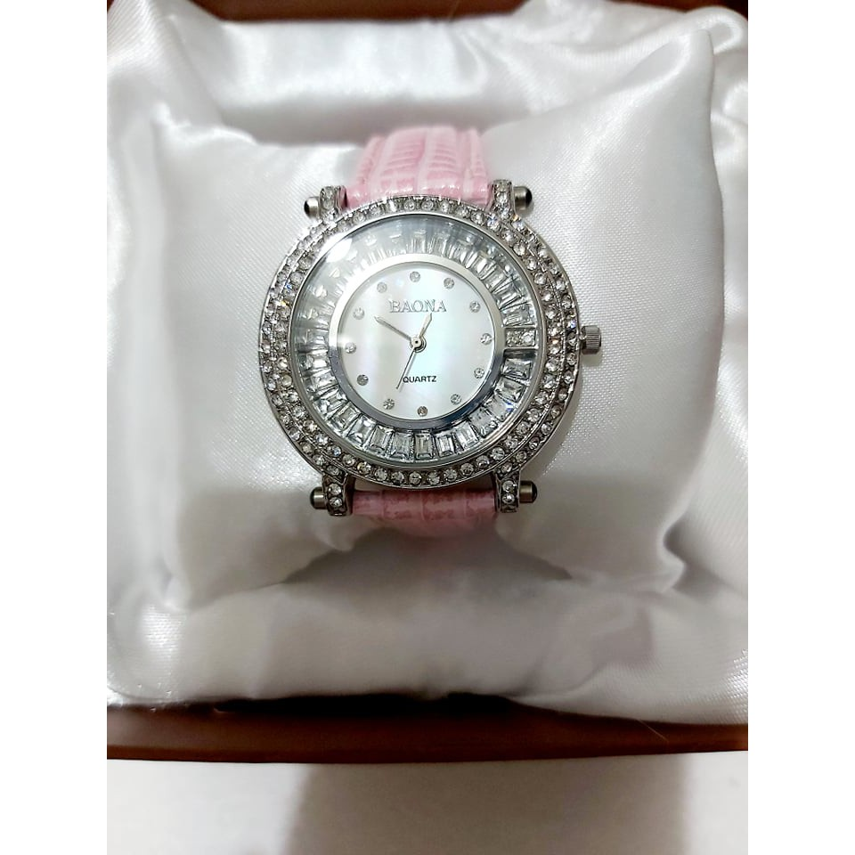 167.Baona雙圈鑽手錶 粉紅錶帶 1000