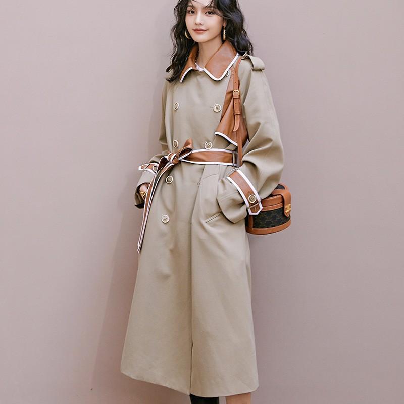 RESONANCE•现货好品质•原创小眾設計風衣•2021春季新款•收腰系帶•撞色雙排•長款外套