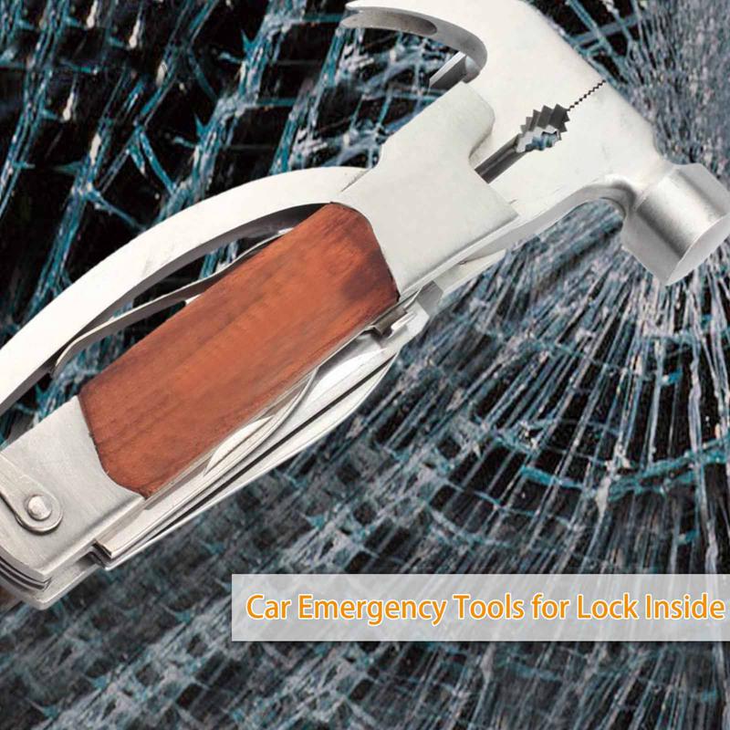 Sunfay 新款 14 合一體多功能實木救生錘, 多功能工具鉗錘, 不銹鋼爪安全錘