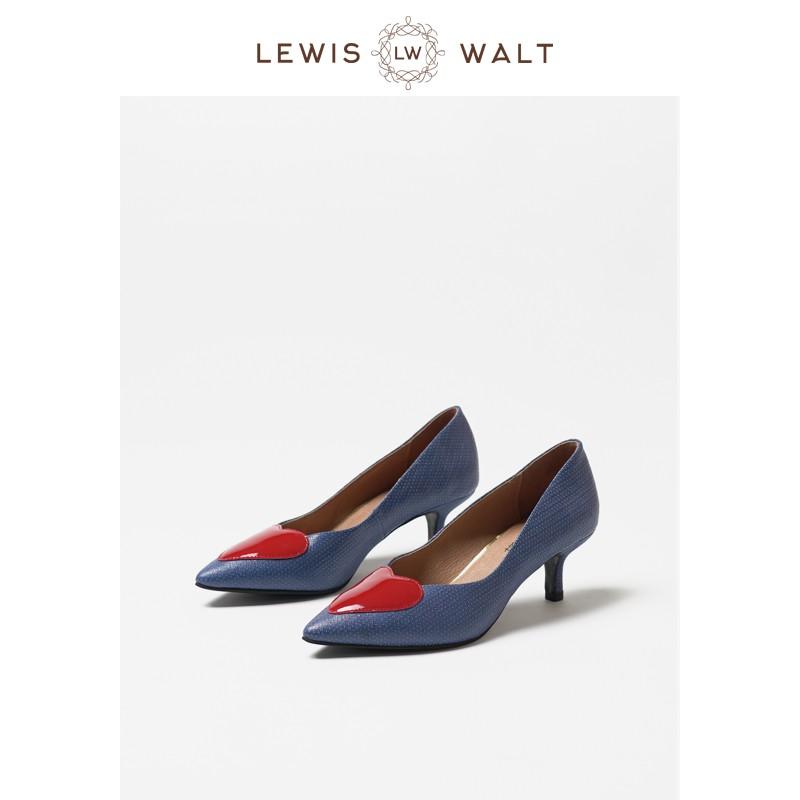 【Lewis Walt】尖頭羊皮大碼通勤百搭簡約愛心中高跟貓跟單鞋