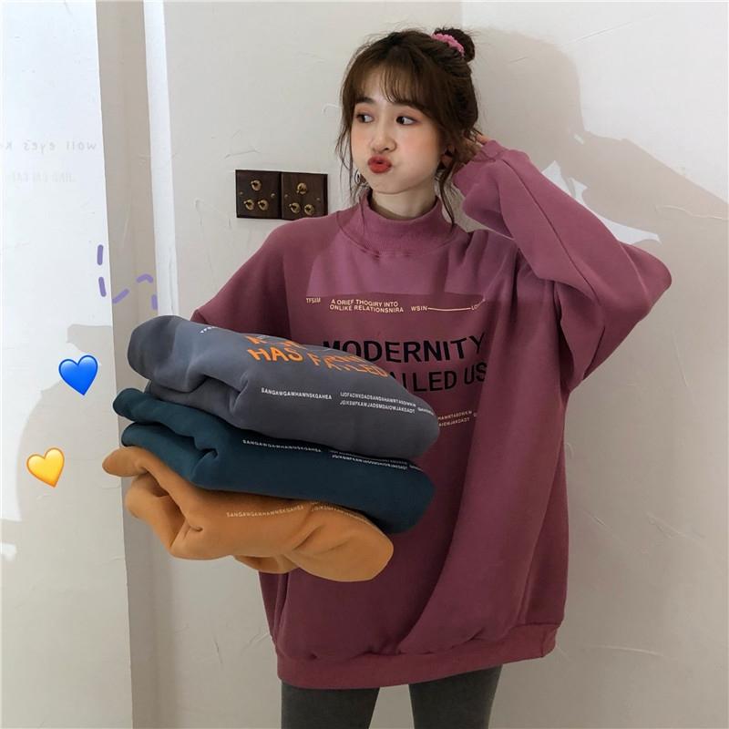 [嬌戀主角]大學t 刷毛加厚 高領字母印花上衣 外套 韓系 打底衫 寬鬆 顯瘦 閨蜜裝 班服 情侶穿搭 女生衣著