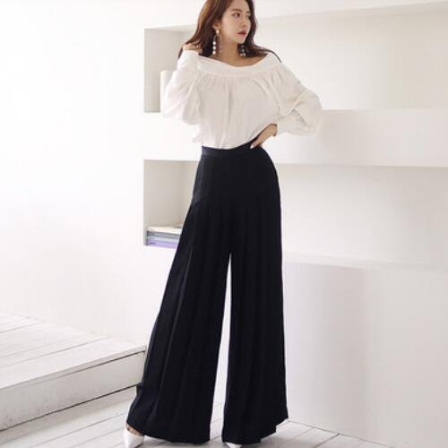 兩件套 襯衫 長褲 S-XL新款氣質一字領上衣時尚職業闊腿褲套裝 NE49-7507.愛尚依人