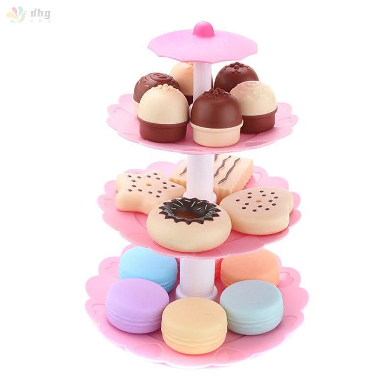 17 件 / 套蛋糕塔迷你餅乾食品套裝塑料廚房玩具孩子假裝玩生日禮物