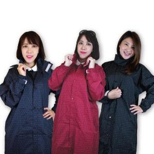 【 MIKA Shop】百貨公司款圓點大衣式風雨衣 (SGS檢驗合格) 黑色 藍色 紅色 粉色 輕量 防風 超潑水