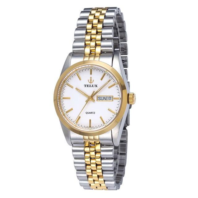 台灣品牌手錶腕錶【TELUX鐵力士】伯爵系列經典男腕錶手錶中金金釘36mm台灣製造石英錶250120TG-W12