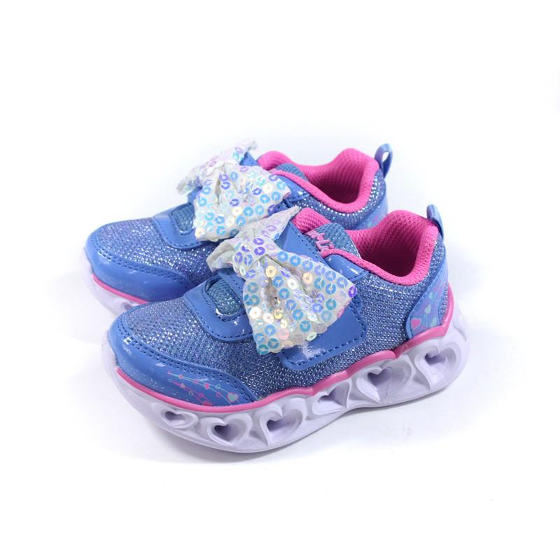 SKECHERS Heart Lights 運動鞋 電燈鞋 魔鬼氈 童鞋 藍色 302091NPWPK no253