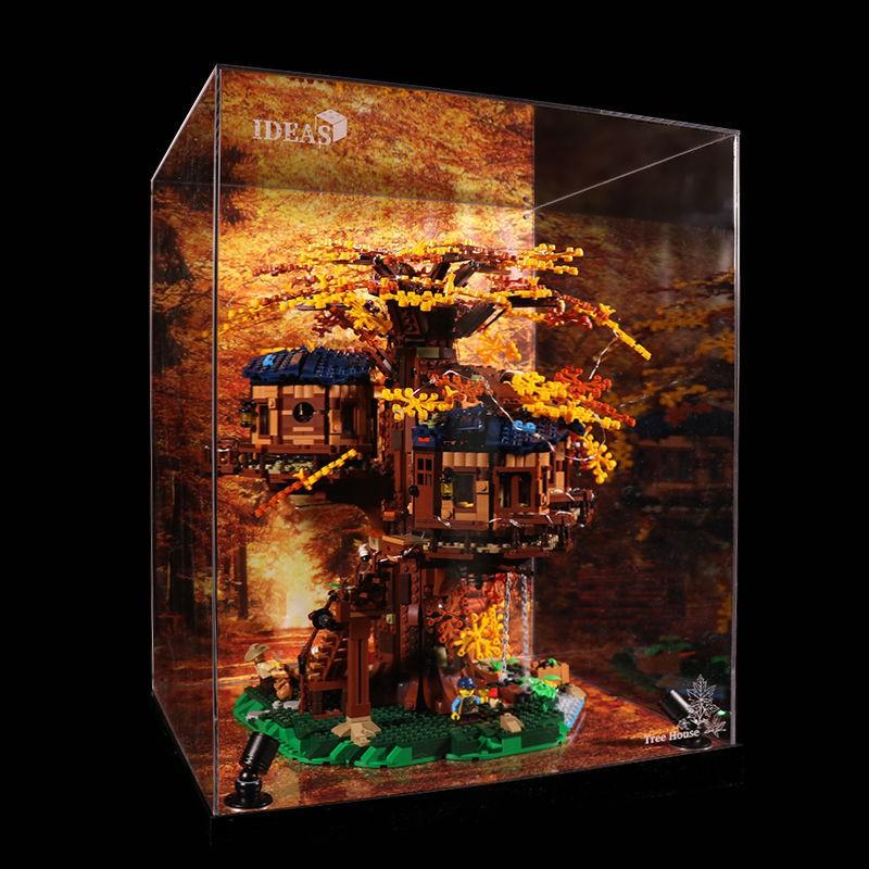 ♟✣【展示盒】LEGO21318叢林樹屋 易裝春秋一體透明防塵亞克力手辦盒